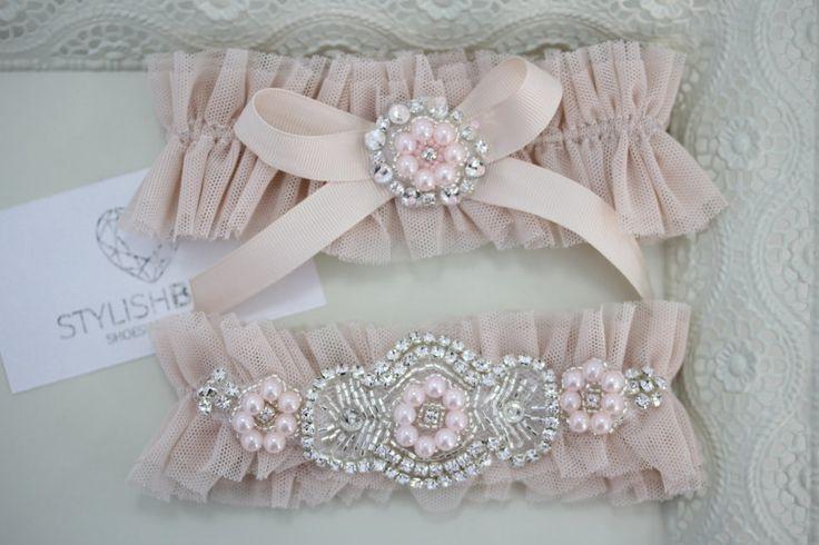 Wedding Garter Tulle Set Blush, Pink Bridal Garter, Tulle Blush Garter, Tulle Blush Wedding Garter Set, Blush Wedding Garter Set by StylishBrideAccs on Etsy