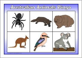 Australian animals bingo (SB7814) - SparkleBox