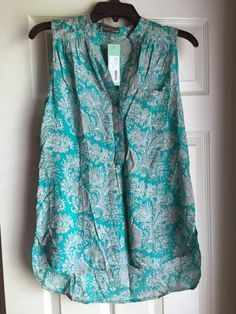 Market & Spruce Colibri Paisley Print Sleeveless Top--love this color and the split neck.
