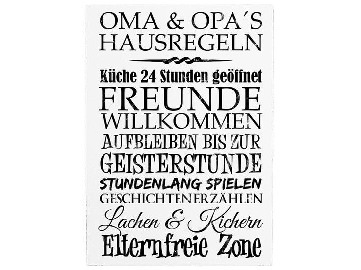 42x30cm XXL Holzschild OMA´S UND OPA´S HAUSREGELN