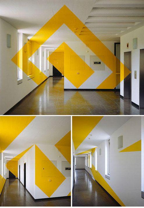 Anamorphic Geometric Installations by Felice Varini  More: http://inthralld.com/2012/02/anamorphic-illusions-by-felice-varini/