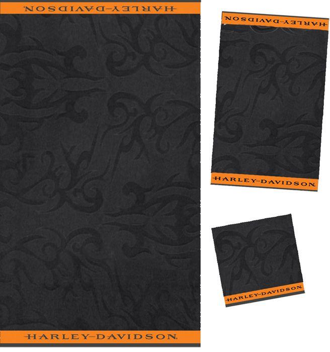 Nice Harley Davidson® 3 Piece Towel Bath Set Black Jacquard