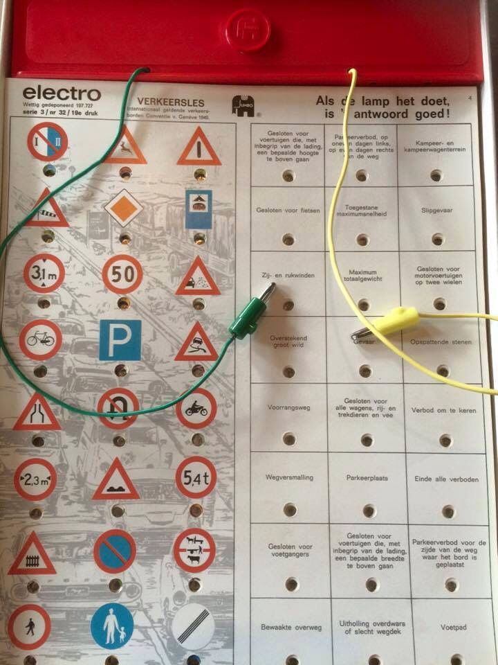 TOTALLY HAD THIS! It's called Electro and it was this game for kids with lots of different punched sheets. You would match an image to the correct description and it would give you a green light I think. Simplistic by today's standards but SO cool back in the day :)
