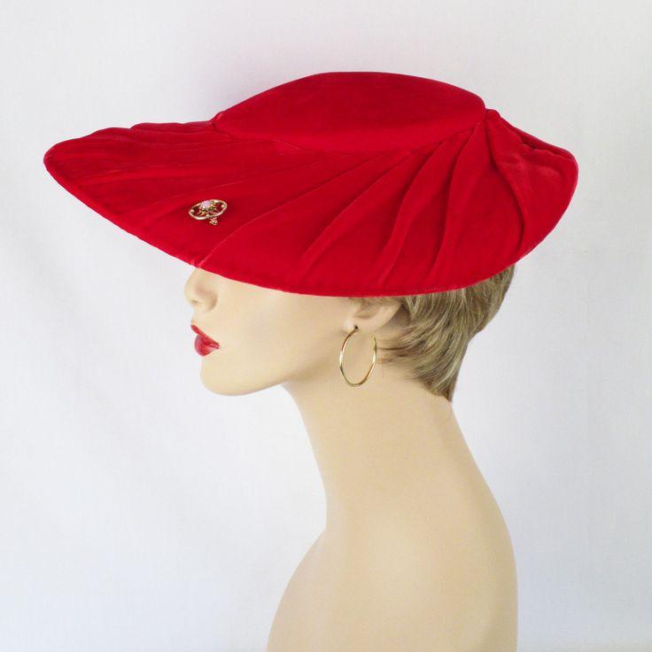 1950s Red Velvet Platter Hat by Dascher Sz 21 1/2 by alleycatsvintage on Etsy