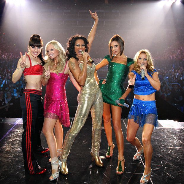 """The Spice Girls on stage during one of their triumphant """"Return of the Spice Girls"""" reunion tour stops. #TheSpiceGirls #SpiceGirls #ReturnoftheSpiceGirls #ReturnoftheSpiceGirlsTour #SportySpice #MelanieC #BabySpice #EmmaBunton #ScarySpice #MelB #PoshSpice #VictoriaBeckham #GingerSpice #GeriHalliwell"""