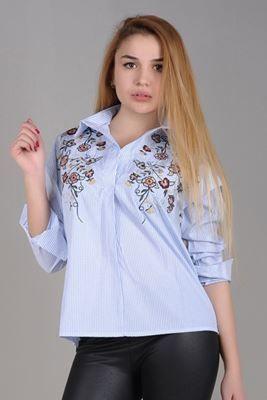 Nakışlı Mavi Çizgili Gömlek