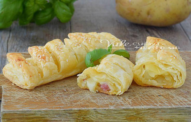 Fagottini di sfoglia patate prosciutto e formaggio, una ricetta con la pasta sfoglia facile e veloce, un finger food,aperitivo o stuzzichino sfizioso.