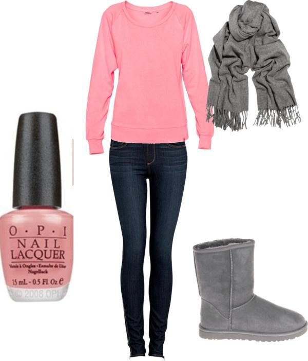 """Cute but comfy look"" by reegied on Polyvore: Fashion Pink, Dreams Closet, Fashionista, Clothing, Fashion Forward, Fashion Styl, Australia Boots, Pinterest Closet, Comfy"