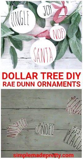 DIY DOLLAR TREE Rae Dunn Ornaments, Dollar Tree Christmas Ornaments