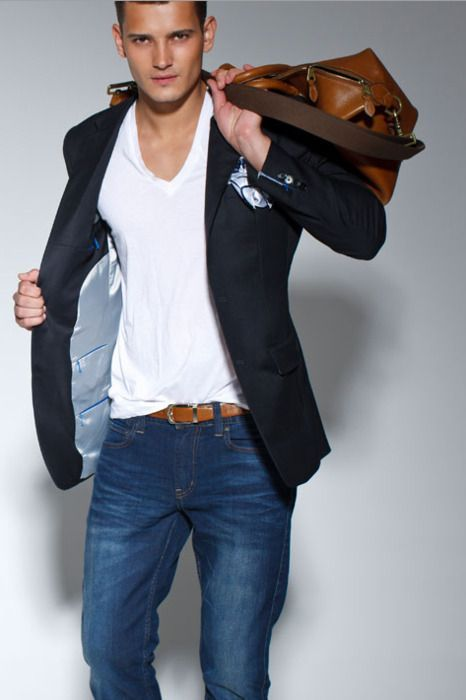 Shop this look for $251: http://lookastic.com/men/looks/tote-bag-and-blazer-and-pocket-square-and-crew-neck-t-shirt-and-belt-and-chinos/2642 — Brown Leather Tote — Black Blazer — Light Blue Pocket Square — White Crew-neck T-shirt — Brown Leather Belt — Navy Chinos