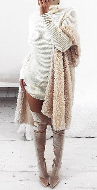 White Knit Dress // Pink Faux Fur Coat // Grey Velvet OTK Boots                                                                             Source