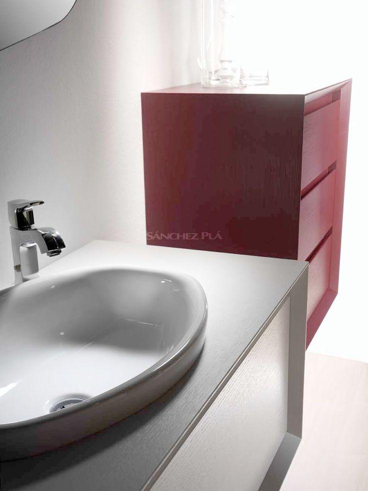 Mueble de ba o suspendido con lavabo de porcelana de la - Muebles de madera para banos ...