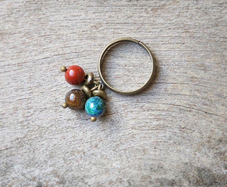 Bague fantaisie perles en pierres fines naturelles - Bague perles de Jaspe rouge, Bronzite et Azurite-malachite : Bague par joaty