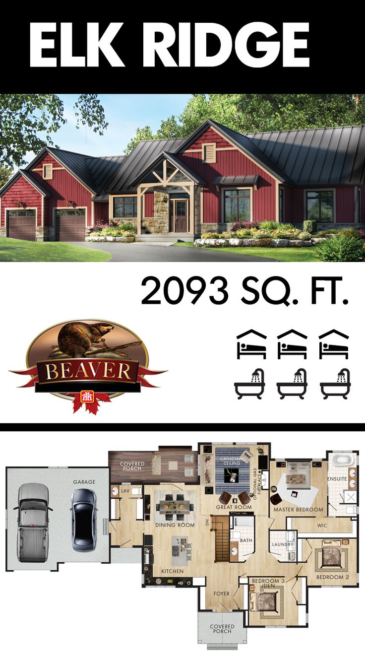It's easy to fall in love with the Elk Ridge. With the perfect balance of traditional and rustic styles, the curb appeal is flawless. #BeaverHomesAndCottages