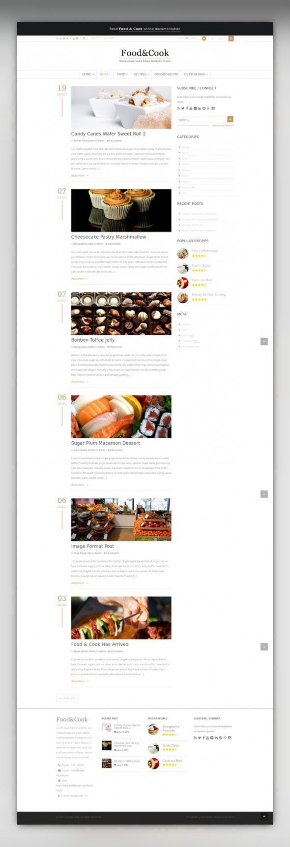 Food & Cook - Multipurpose Food Recipe WP Theme clean, cooking, food, minimalist, mobile, modern, multipurpose, parallax, recipe, responsive, restaurant, review, sharing, shop, wordpress Food & Cook is your Food Blog Wordpress Theme, sharing recipes and cooking tips can't get any easier than this. With Beautiful and Clean design its a Perfect display for your food catalogue. Choose your favorite layout ! 6 home layouts and 3 recipe layou...