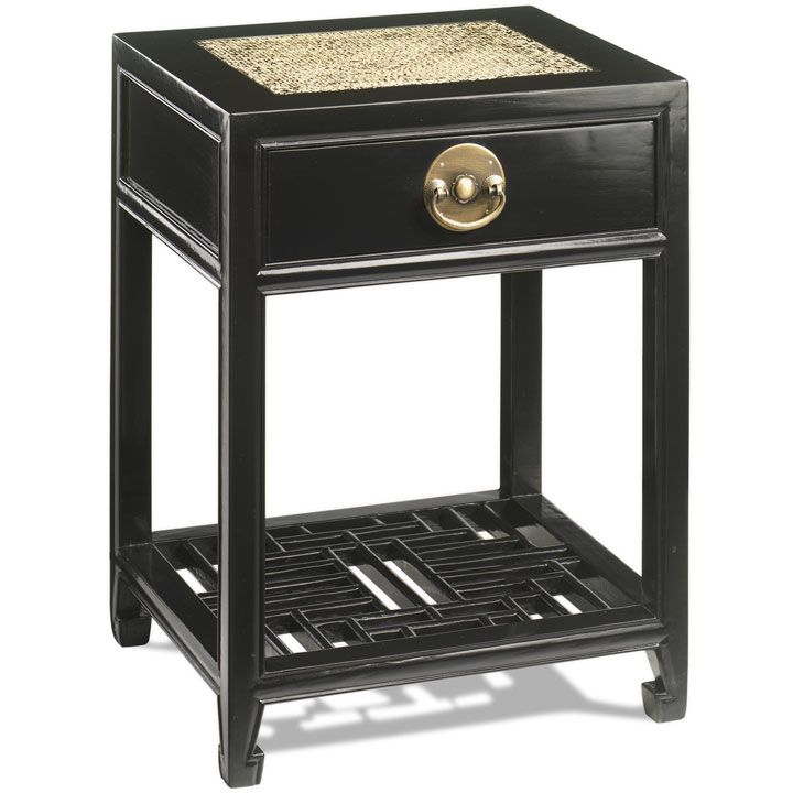 Oriental Carved Side Table In Solid Elm Finished Black Lacquer Storagesolutions Chinesefurniture
