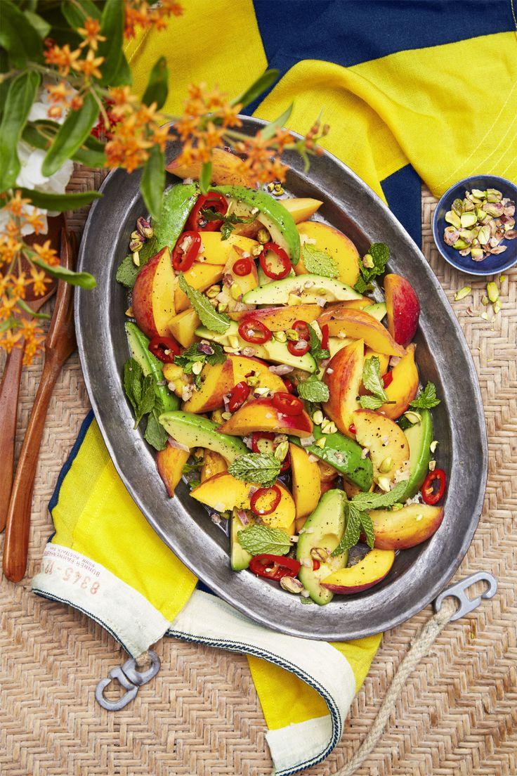 Spicy Peach and Avocado Salad  - CountryLiving.com