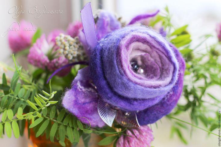 """Купить """"Вспоминая лето"""" брошь бутоньерка цветок - сиреневый, бутон, цветок, брошь ручной работы"""