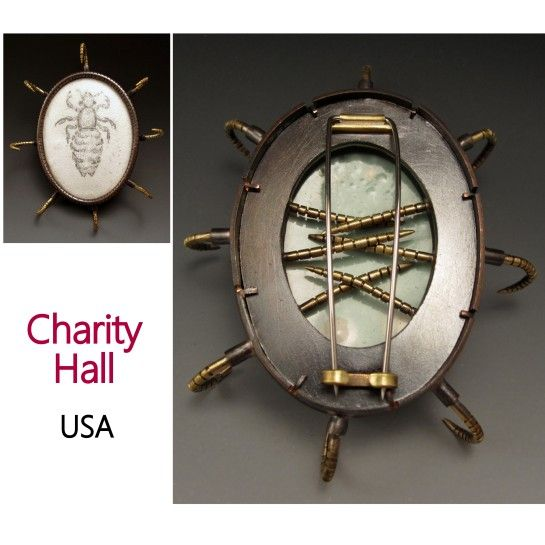 "Mammal Louse Brooch  Copper, brass, enamel   2.75""x2.25""x0.5""  Photo: Charity Hall"