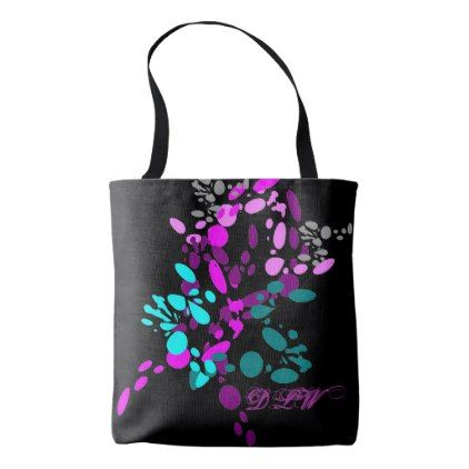Pastels in the Black Splash Personalized Tote Bag - fun gifts funny diy customize personal