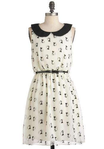 Imagine Me and Meow Dress - Mid-length, White, Black, Print with Animals, Belted, Party, Casual, A-line, Sleeveless, Spring, Quirky (if only it was available still)