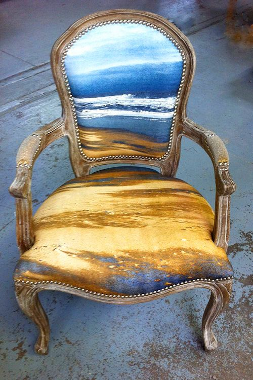 Painted upholstered chair of a winter beach. Love.