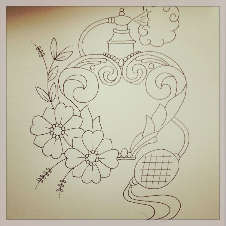 Vintage perfume bottle tattoo sketch