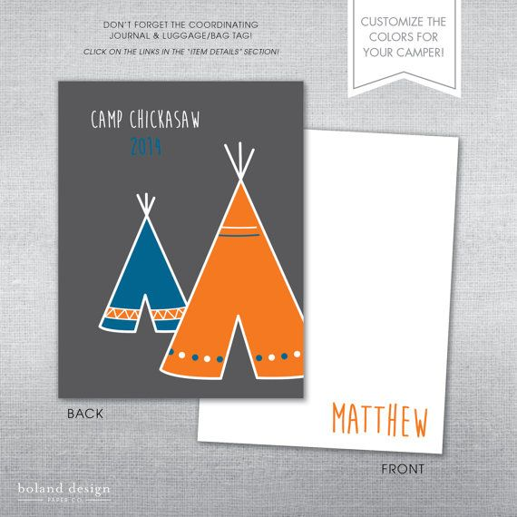 SUMMER CAMP STATIONERY!  Be sure that your camper writes to family and friends while they are away at camp! These fun notecards can be personalized with the name of your camper, the name of the camp, and the year.