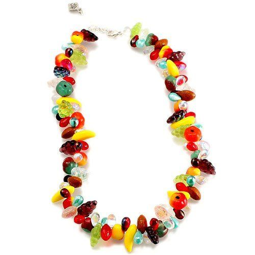 "Smithsonian Glass Fruit Jewelry (Necklace) Smithsonian. $49.96. The necklace and bracelet of this delectable ensemble have 2""l. extender chains, lobster claw clasps, and grape accent beads. BRACELET AND EARRINGS SOLD SEPARATELY. Sterling silver findings. Hand assembled in the USA. Matching dangles suspend different fruits. Bohemian glass bananas, strawberries, apples, pears and grapes are wire-wrapped and interspersed with delicate glass teardrops"