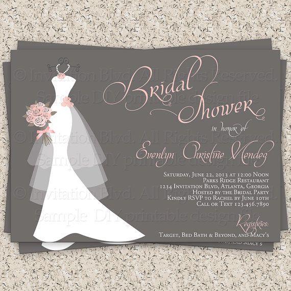 Bridal Shower Invitation, Wedding Shower Invitations - Dress on Hanger - Printable Bridal Shower Invitation on Etsy, $10.99