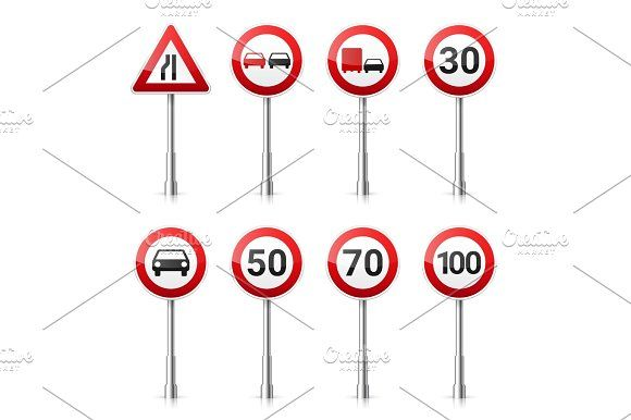 Road signs collection isolated on white background. Road traffic control.Lane usage.Stop and yield. Regulatory signs.Speed limit. by 32pixels on @creativemarket