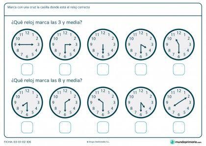 Ficha de horas y media | matemàtiques | Pinterest