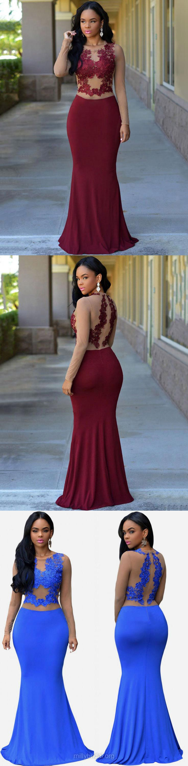 Burgundy Prom Dresses, Long Prom Dresses, Trumpet/Mermaid Prom Dresses Scoop Neck, Jersey Prom Dresses For Teens, Modest Prom Dresses Lace #Burgundydress #longdresses