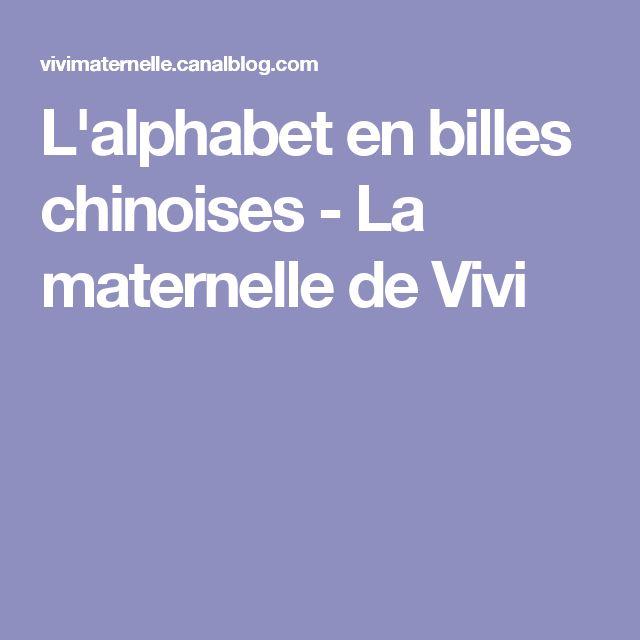 L'alphabet en billes chinoises - La maternelle de Vivi