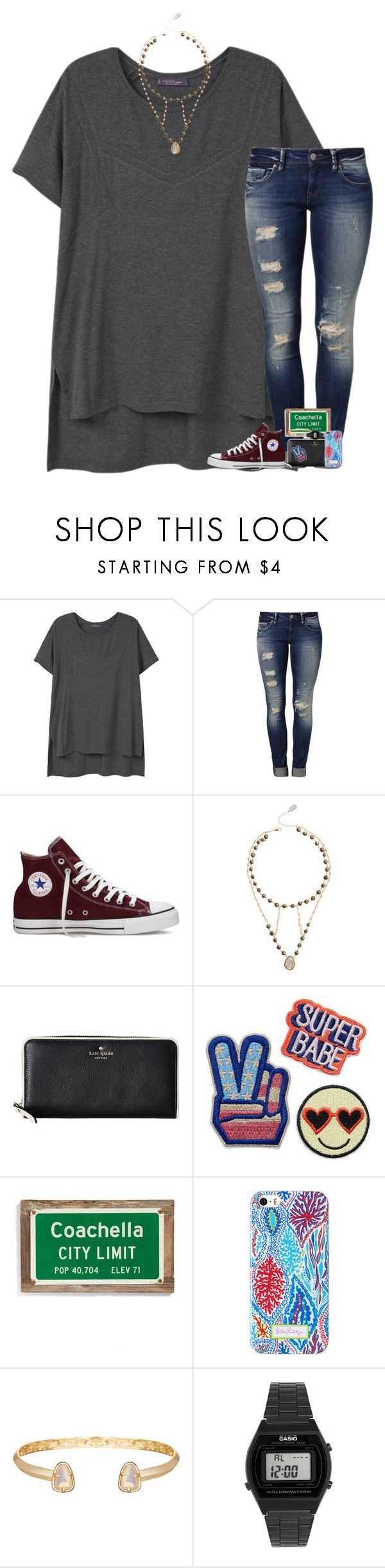"""•don't fall in love. it sucks•"" by cfc-28-sc ❤ liked on Polyvore featuring Violeta by Mango, Mavi, Converse, Ela Rae, Kate Spade, Poncho & Goldstein, Kendra Scott and Casio"