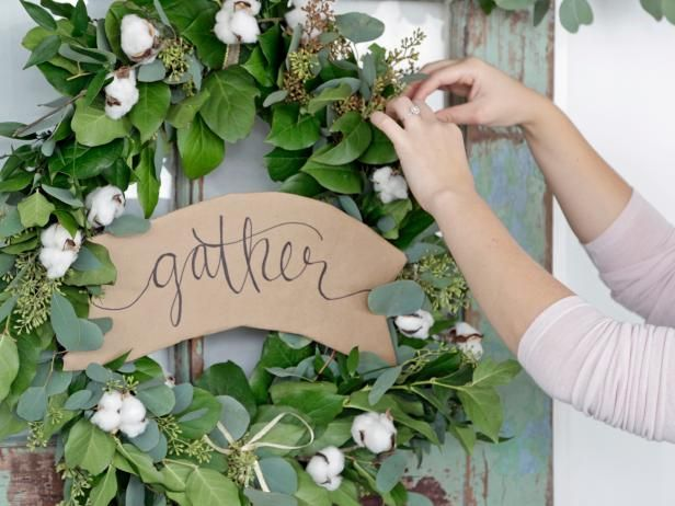 HGTV.com shows you how to make a DIY holiday eucalyptus garland and wreath with farmhouse flair.