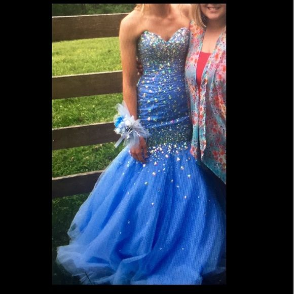 Mori Lee size 2 Cinderella blue mermaid prom dress Size 2 Cinderella blue lace-up sparkly mermaid prom dress by Mori Lee! Only worn for a few hours! Pictures don't do this gorgeous dress justice!  can have this shipped same day or next day! Paid over $400! Feel free to ask questions ☺️ • ON Ⓜ️erc FOR cheaper • Mori Lee Dresses Prom