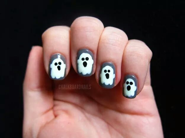 Ghost Glow-In-the-Dark Manicure by Chalkboard Nails - 13 Best HALLOWEEN NAIL ART Images On Pinterest Halloween Nail
