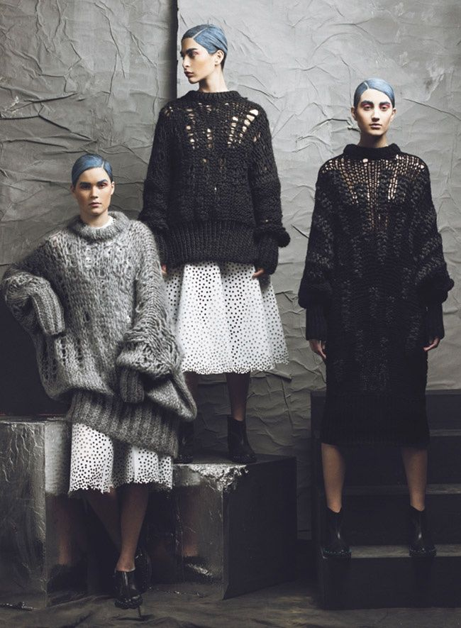 Oversized knits, dimensional shapes, lots of layering and the use of muted dark colours. Atelier Kikala's AW 2014-15