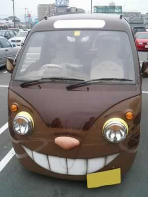 Yes, this is awesome- but wait, there's more. Look at the inside: Totoro-covered seats. It's the total package. #catbus #totoro