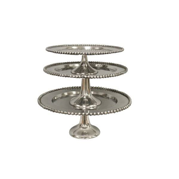 Silver Cake Stand Collection || Set of 3 silver cake stands with beaded trim. Small, Medium and Large. Quantity: 1.
