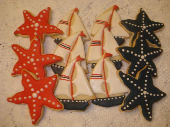 Velero náutica y estrellas de mar vainilla por SweetCreationsbyJudi