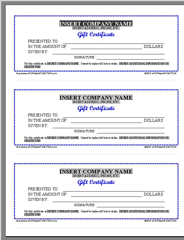 Free Printable Gift Certificate Forms | Certificates Sheet Blue 4