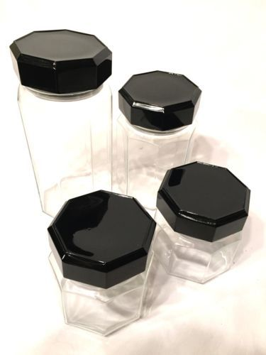 Arcoroc-Octime-Black-Lid-Glass-Cannister-Containers-Set-of-4-Wow
