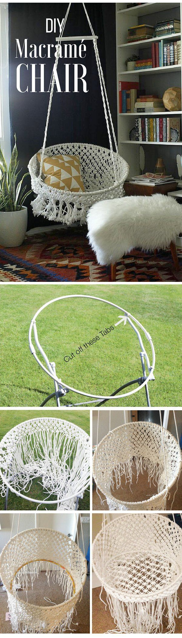 Check out the tutorial: #DIY Macrame Chair #crafts #decor