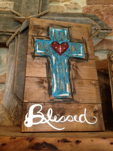 "Rustic textured cross on stained wood ""Blessed"""