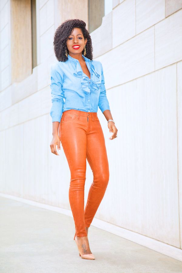 Denim ruffled blouse and leather skinnies