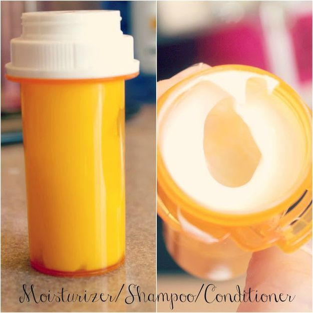 For this packing hack, fill empty medicine bottles with shampoo and conditioner.