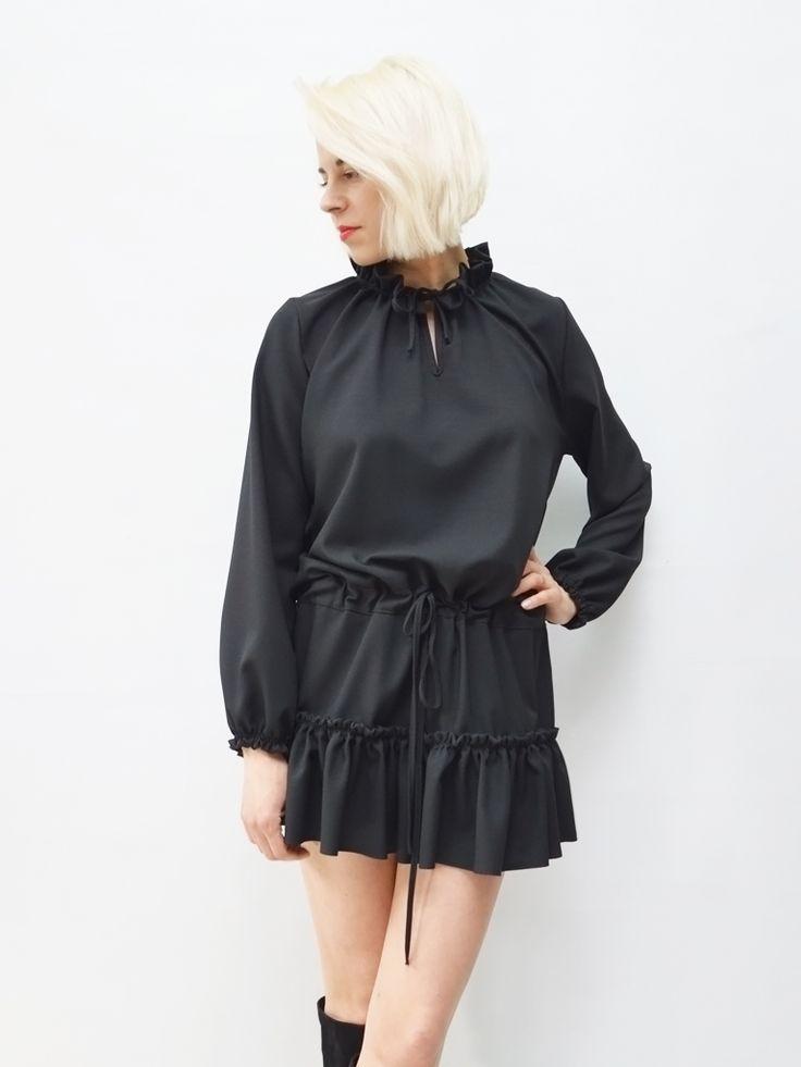 Zwiewna sukienka LaLu czerń AchVeverka.pl #sikienka #małaczarna #czarna sukienka #achveverka #zwiewna