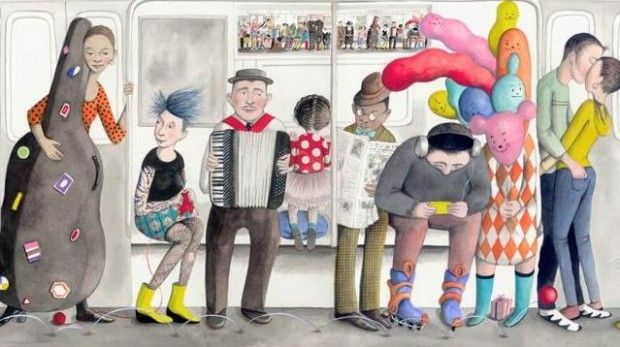 Beautiful illustrations of a NYC subway by Sophie Blackall: Beautiful Illustrations